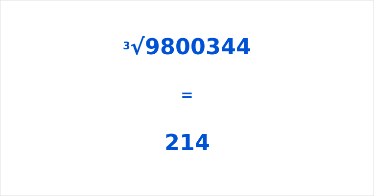 Cube Root of 9800344