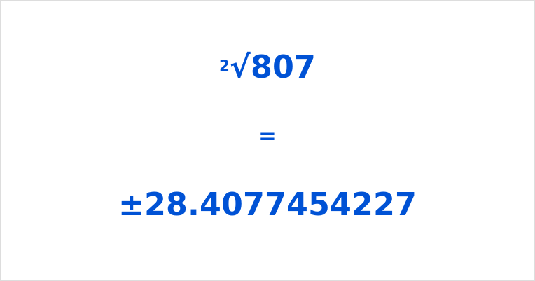 Square Root of 807