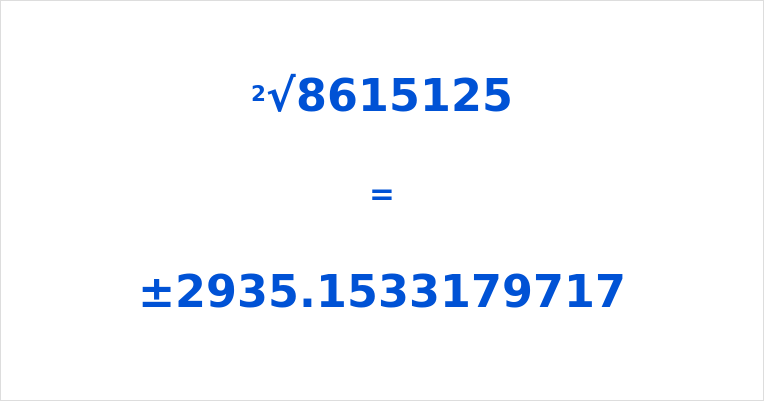 Square Root of 8615125