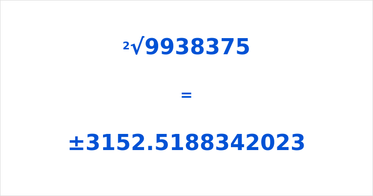 Square Root of 9938375